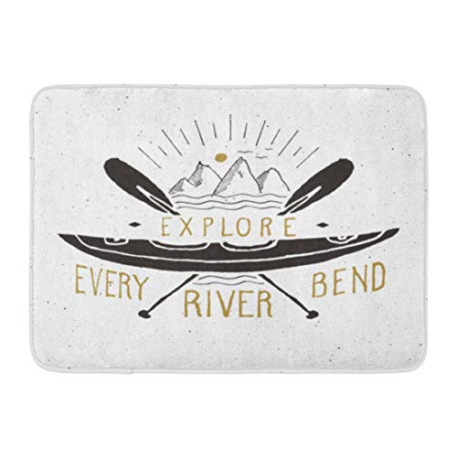 NCH UWDF Doormats Bath Rugs Door Mat Lake Kayak and Canoe Vintage Label Sketch Retro Badge Doodle Drawing 15.8'x23.6'
