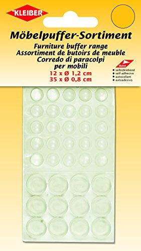 Kleiber Abstandshalter 12 Ø=1, 2 cm 35 Stück 0, 8cm Türstopper selbstklebend, Plastik, transparent, 16 x 9,5 x 0,5 cm