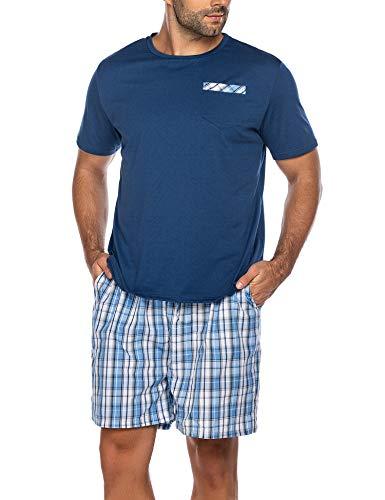 Schlafanzug Herren Lang Pyjama Warm Nachtwäsche 2-Teiler Schlafoverall Langarm Anzug Shorty inkl. Hose Oberteile für Männer Zuhause (A-Blau, S)