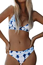 CUPSHE Women's Cosy Bay Lace Up at Back Bikini Set (Small (USA 4 6), Blue White)