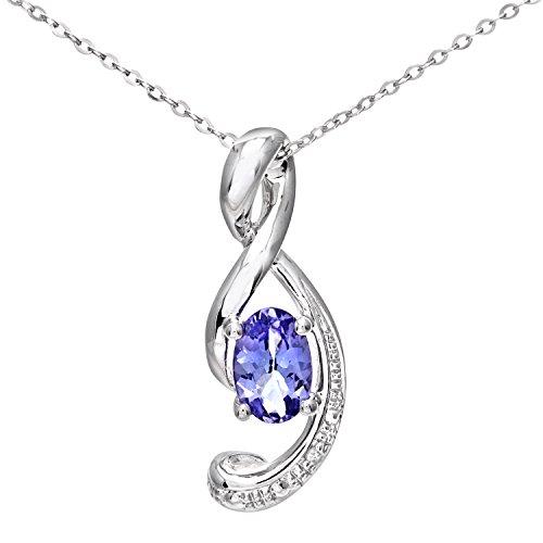 Naava Collana con Pendente da Donna, Oro Bianco, 9 Carati 375, Diamante, Blu, Rotondo