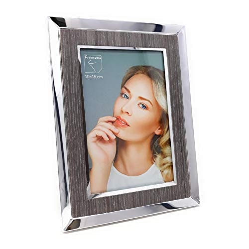 formano Fotorahmen, Bilderrahmen für Fotoformat 10x15cm Silber grau