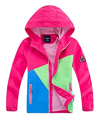 M2C Girls Waterproof Active Jackets Hooded Lightweight Windbreaker Pink 5/6