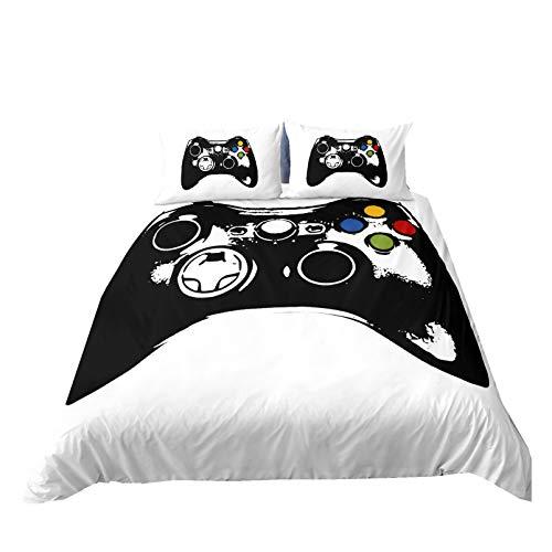 Juego de Cama para Gamepad Videojuegos Modern Gamer Funda Nórdica con Funda de Almohada Dibujos Animados 3d Impreso Controlador Ropa de Cama,Niños Niñas Decoración de Dormitorio (Style 4, Cama 135 cm)