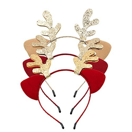 ConpConp 3 diademas para el pelo de Navidad, con orejas de gato, orejas de gato y cuernos de color con almohadilla de pegamento de lentejuelas para mujeres y niñas
