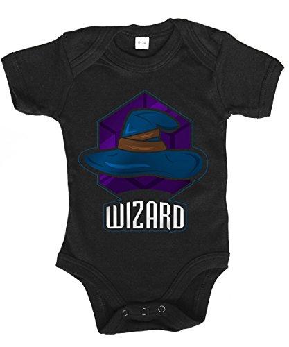 clothinx - RPG Abenteurer – Zauberer/Wizard - Babybody Schwarz, Größe 6/12 Monate