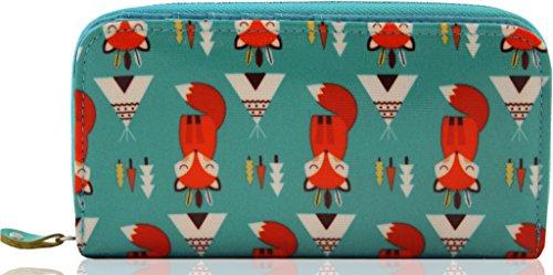 kukubird Damen Designer Öl-Stoff Large Mutter Fox Geldbeutel/Geldbörse Turkis Blau