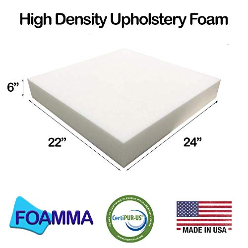 foamma 6' x 22' x 24' Upholstery Foam High Density Foam (Chair Cushion Square Foam for Dinning Chairs, Wheelchair Seat Cushion Replacement)