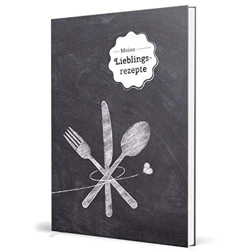 Großes XXL Rezeptbuch zum selberschreiben - TAFEL - DIN A4-102 individuellen Rezeptseiten im DIY Kochbuch zum ausfüllen: Kratzfestes Hardcover mit Inhaltsverzeichnis, Register und Lesezeichen