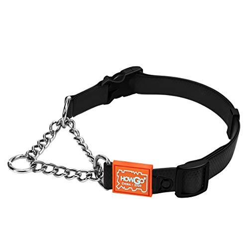 HOWGO Training Collar,Martingale Collar,Limited Cinch Collar,Chain Reaction Dog Collar,Adjustable Pet Choke Collars forNo Pull Leash Walking (Black, Large)