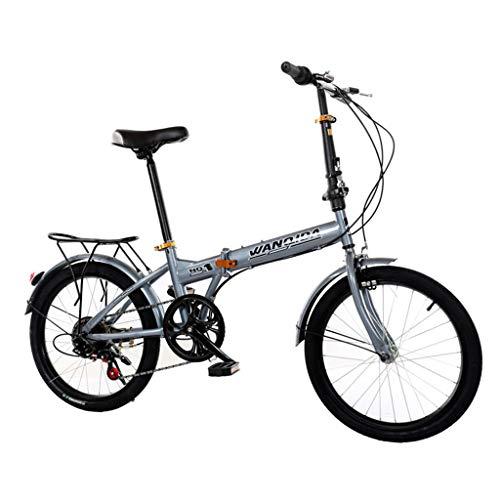 LIEIKIC 20 Zoll Klapprad Faltrad Nabenschaltung Leichte 6 Gang Stoßdämpfung Geschwindigkeit Shimano Klappfahrrad Folding Bike (Gray)