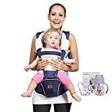 Bebamour Mesh Newborn Baby Carrier Front and Back Carry Baby Newborns to Toddler Baby Hip Carrier ,Dark Blue
