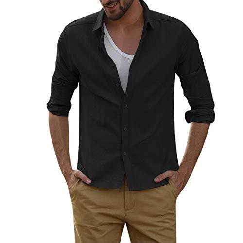DNOQN Coole Shirts Herren Langarmshirt Herren Baggy Linen Blend Volltonfarbe Langarm Turn Down Kragen Shirts XXL