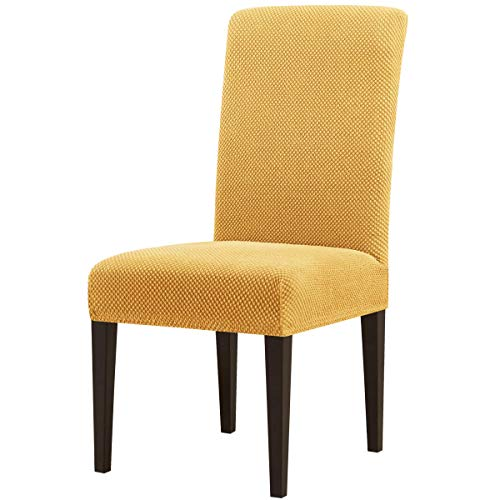 subrtex Dining Room Chair Slipcovers Jacquard Parsons Chair Covers Sets Stretch Chair Furniture Protector Covers Removable Washable Chair Seat Slipcovers for Restaurant Hotel Ceremony(4, Beige)