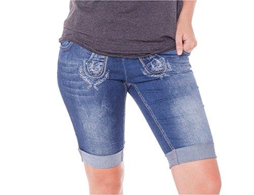 MarJo Damen Jeans Trachten Bermuda (30, blau)