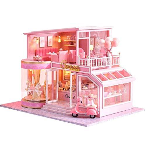XZJJZ Regalo de Habitaciones Miniatura Linda casa de muñecas DIY Casa Kit Creativo DIY Perfecto for los Amigos, Amantes y Familias (Torta Diary) Cubierta a Prueba de Polvo Plus