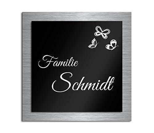 Premium Türschild aus Hochglanz Acrylglas und V2A Edelstahl | Namensschilder mit Gravur und Motiven Familienschild Türschilder für die Haustür mit Namen selbstklebend oder mit Bolzen 12x12 cm
