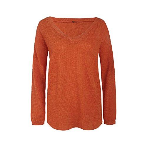 Kabxryaclo - Maglione da donna con scollo a V, tinta unita Arancione 44