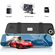 """VICTONY 1080P Full HD 4.3"""" LCD Rearview Mirror Car Dash Cam,Dual Lens Vehicle Camera with Night Vision,Motion Detection,G-Sensor (Blue)"""