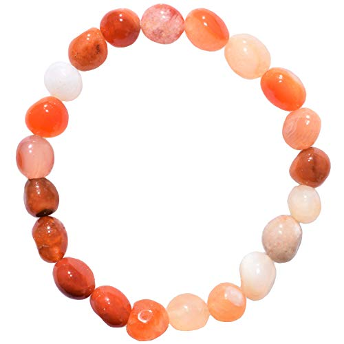 Charged Natural Carnelian Agate (Riverbed Agate) Crystal Bracelet Tumble Polished Stretchy