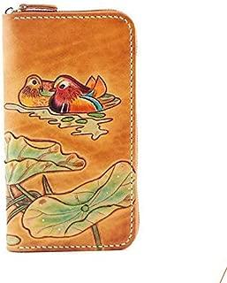 JAUROUXIYUJI Women's Wallet Retro Clutch Bag Floral Pattern Bag Female Fashion Genuine Leather Handbag (Color : Yellow)