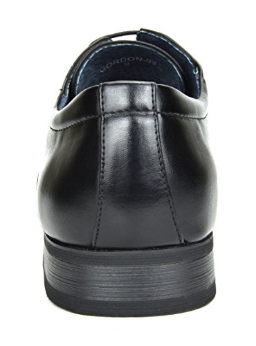 Bruno MARC GORDON-03 Men's Formal Classy Snipe Toe Lace Up Leather Lining Oxford Dress Shoes BLACK SIZE 9.5