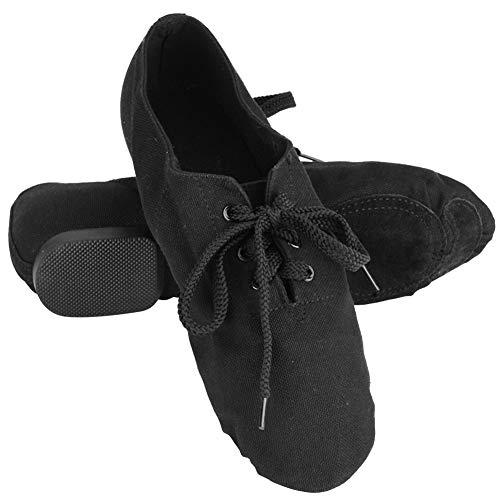 Tbest Zapatos de Baile de Danza Jazz,Zapatos de Danza Moderna Zapatillas de Ballet Suave con Suelas Planas Portátil Zapatos de Baile de Yoga Gimnasia Fitness para Adultos Mujer,Negro(41)