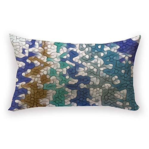 Hustor Funda de almohada de algodón y lino, diseño único, color azul, verde, amarillo, para sofá, cama, coche, 12 x 20 pulgadas