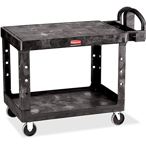Rubbermaid Commercial Products 2-Shelf Utility/Service Cart, Medium, Flat Shelves, Ergonomic Handle, 500 lbs. Capacity, for Warehouse/Garage/Cleaning/Manufacturing (FG452500BLA)