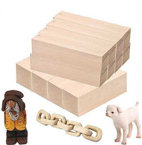 TOKERD 12 Schnitzholz Natürliches Holzblöcke zum Schnitzen & Basteln Lindenholz Schnitzholz für Kinder und Erwachsene(15 x 5 x 5cm, 15 x 2.5 x 2.5cm)