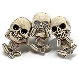 Evil Skull Trio Statue for Car Vent, Evil Skull Trio Statue a Set of 3pcs with Air Freshener, Evil Skull Trio Statue Gothic Ornaments Resin Skeleton Figurine for Home, Car Indoor Decorative
