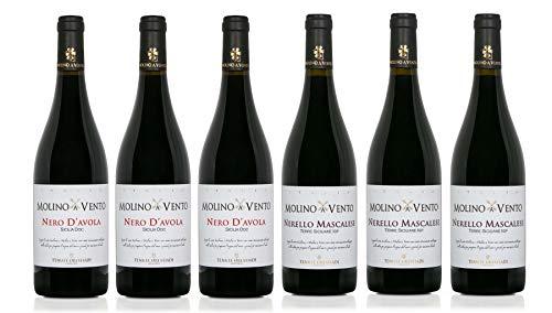 Confezione 6 bottiglie | 2 tipologie di Vino Rosso Sicilia IGP: NERO D'AVOLA | NERELLO MASCALESE - Cantina Tenute Orestiadi | Collezione Molino a Vento