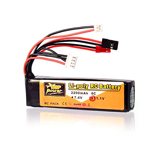 ZOP Power 11.1V 2200mAh 8C 3S Lipo Battery JST JR Futaba Plug Rechargeable for RC Drone Helicopter Quadcopter Transmitter