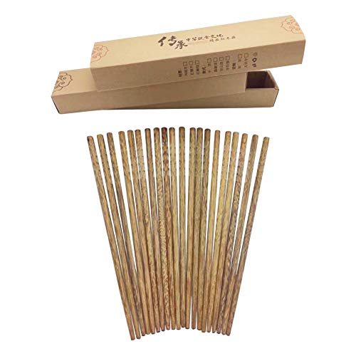 Udyr Luxury Reusable Natural Wenge Wood Chopsticks Multicultural Ancient Asian Wisdom Hand-polished Non-slip Classic Chinese Style 10 Pairs with Gift Box