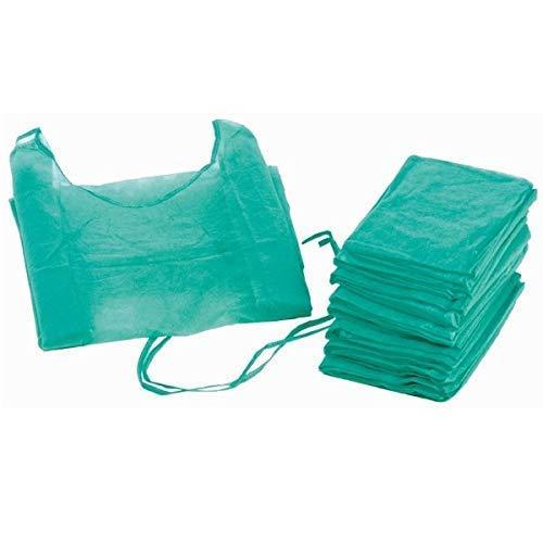 Bata hospitalaria desechable verde con puño elástico. Caja 100 uds