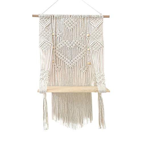 SNIIA Wandrek, zwevend rek, houten staander, schommel, hangend wandrek, handgeweven macramé, ophangen, plantenhouder, bloempot, houder Boho Home Decor