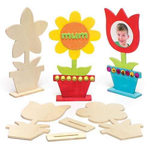 Baker Ross AR264 Wooden Flower Blanks for Kids - Pack of 4, Woodcraft Painting Craft Kits for Kids Art Activities