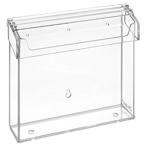 Prospektbox 15x15cm wetterfest, für Außen, mit Deckel, aus glasklarem Acrylglas/Prospekthalter/Flyerhalter/Flyerbox/transparent - Zeigis®