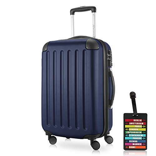 Hauptstadtkoffer - Spree Handgepäck Kabinentrolley Bordgepäck Hartschalen-Koffer, sehr leicht, TSA, 55 cm, 42L, Dunkelblau inkl. Design Kofferanhänger