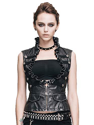 Devil Fashion Vintage Punk Pu Leder Weste Weste f¨¹r Frauen Ehrf¨¹rchtige gotische Sleeveless Damen Gilet Jacke mit Rei?verschluss,L