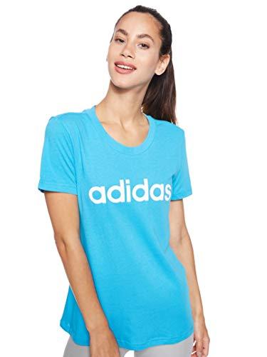 adidas Essentials Linear Slim tee T-Shirt (Short Sleeve), Mujer, Shock Cyan/White, XS