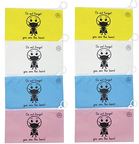 Funda para mascarilla Plegable 8uds 19x10,5cm, Impermeable con Cierre hermético, diseño Personalizado, para Bolso Bolsillo Coche, Set de 4 Colores Azul, Amarilla, Blanca y Rosa (Pack de 8 uds)