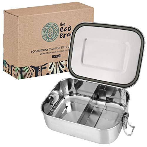 Urbavo Edelstahl Brotdose & Lunchbox, auslaufsichere umweltfreundliche Eco Bento Box, plastikfrei mit flexiblen Fächern, Verschlussclips, einfach zu reinigen - 800ml oder 1400ml (1400ml)
