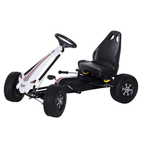 Homcom Vélo et véhicule pour Enfants Kart à pédales siège réglable Frein Manuel Roues AR gonflables...