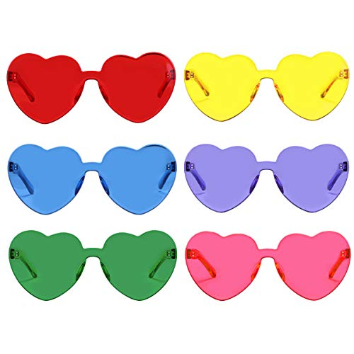 One Piece Heart Shaped Rimless Sunglasses Transparent Candy Color Eyewear(6 Color)