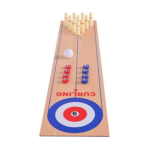 Tragbares 3-in-1-Tisch-Shuffleboard, Curling-Spiel und Bowling-Set (10