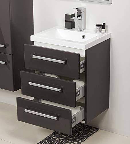 Quentis Badmöbel Genua, Breite 50/ Tiefe 39 cm, Waschbecken mit Unterschrank, 3 Schubladen für viel Stauraum, Softeinzug, anthrazit, Waschbeckenunterschrank montiert