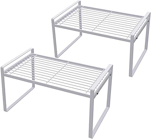 Paquete de 2 estantes para gabinetes de cocina Estantes para mostrador Despensa Almacenamiento Baño Dormitorio Mesa de oficina Escritorio Ahorro de espacio Marco de acero Apilable Resistente