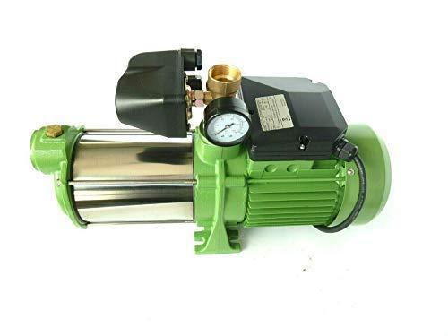 Kreiselpumpe Gartenpumpe HMC145 INOX + Druckschalter mit Manometer - Leistung: 1100W - Spannung: 230 V / 50 Hz 9000 L/h - 150l/min. 5 bar. Laufräder aus EDELSTAHL + integr. thermischer Schutzschalter.