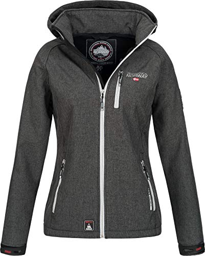 Geographical Norway Damen Funktions Softshelljacke Tassima abnehmbare Kapuze Dark Grey L